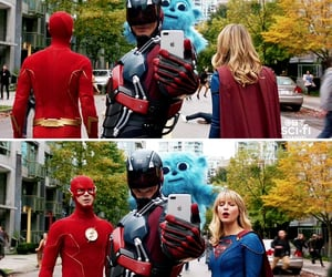 atom, Supergirl, and the flash image