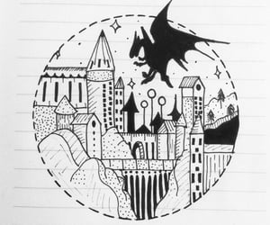 black and white, dragon, and harry potter image