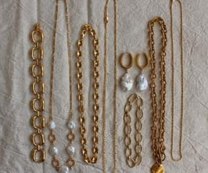 gold, necklace, and pearl image