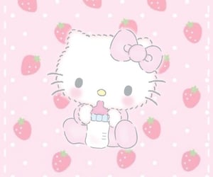 hello kitty, kawaii, and strawberry image