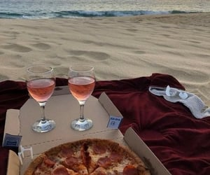 pizza, beach, and wine image