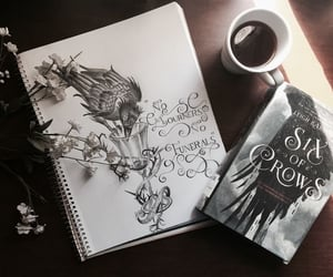 book, coffee, and drawing image