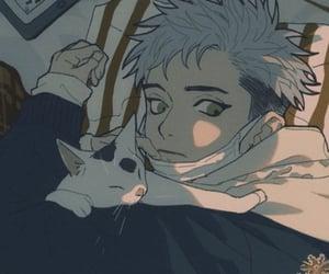 anime boy and anime cat image