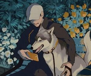 anime boy and anime dog image
