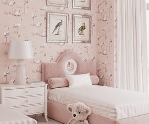 bedroom, children's room, and pink image