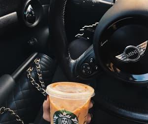 coffee, car, and starbucks image