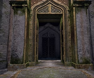 ancient, door, and gold image