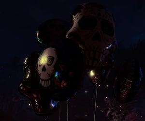 balloon, skeleton, and dark image