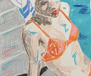 bikini, blue, and drawing image