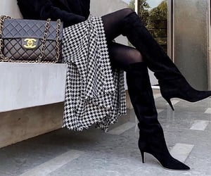 black & white, boots, and fashion image
