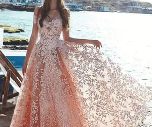 evening gown, pink prom dress, and elegant prom dresses image