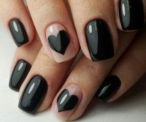 black nails, manicure, and uñas image
