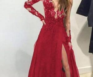 red prom dress, senior formal dress, and chiffon prom dress image