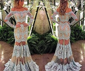 formal dresses, women fashion, and lace evening dress image