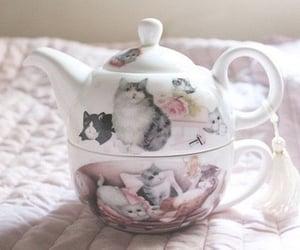 cat, teapot, and tea image