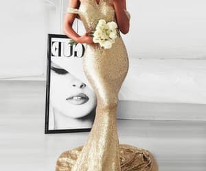 formal dress, robe de soirée, and gold evening dresses image