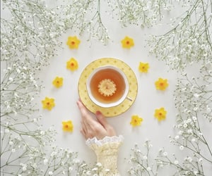 cup of tea, tea, and flowers image