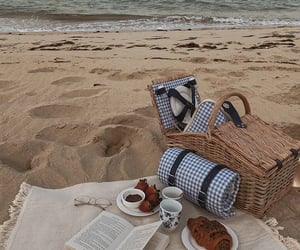 beach, book, and food image