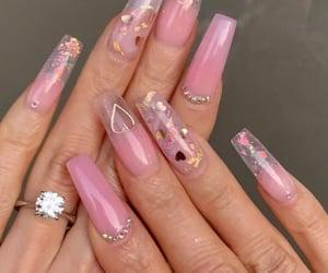nails, pink nails, and long nails image