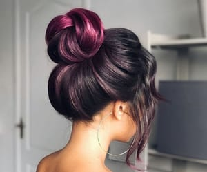 bun hair, burgundy hair, and updo hair image
