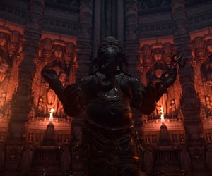 dark, fire, and statue image