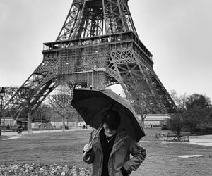 black and white, eiffel tower, and superm image