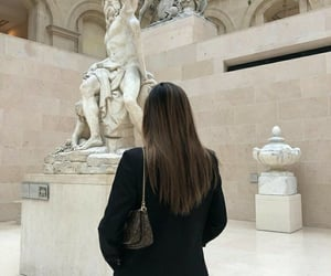 girl, hair, and museum image