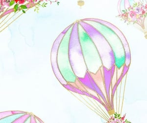 air balloons, floral, and flowers image