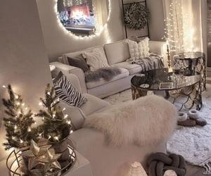 blanco, luces, and arbol de navidad image