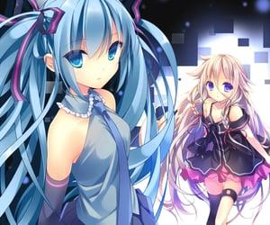 anime, blond hair, and blue hair image