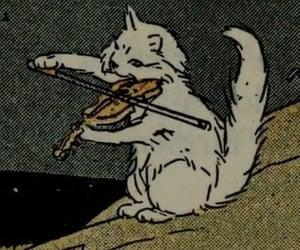 cat, violin, and art image