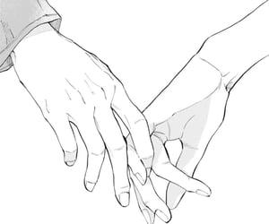 black and white, hands, and manga image