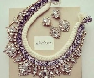 diamond, earrings, and necklace image