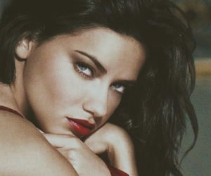 Adriana Lima, glamour, and red lipstick image
