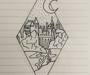 black and white, harry potter, and drawing image