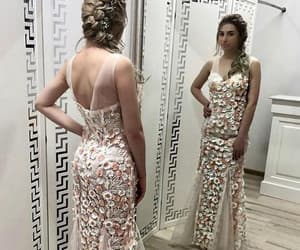 flowers, mermaid, and v neck prom dresses image