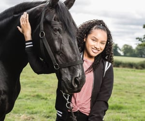 curly hair, free reign, and horse image