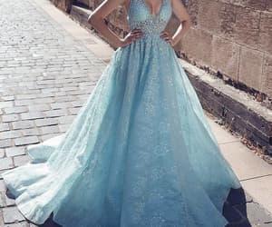 blue prom dress, robe de soirée, and lace applique prom dress image
