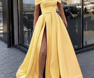 yellow prom dress, elegant prom dress, and satin prom dress image