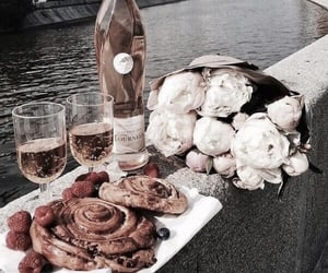 champagne, croissant, and drinks image
