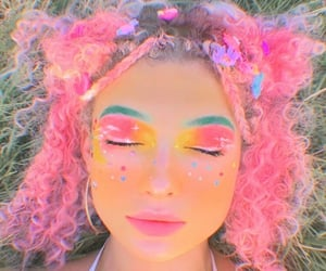carefree, makeup, and colorful image