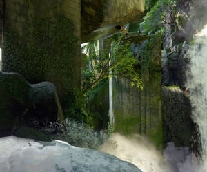 abandoned, moss, and waterfall image