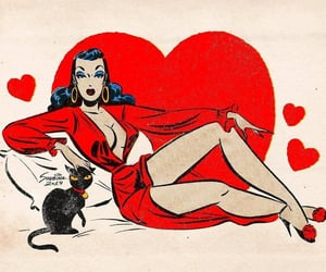comic, pinup, and red image