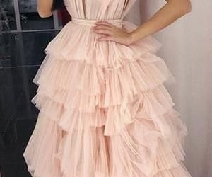 pink prom dress, robe de soirée, and tiered prom dress image
