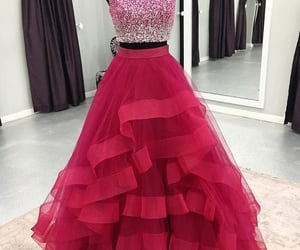 hot pink prom dress, beaded prom dresses, and tiered prom dresses image