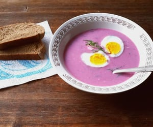 bread, egg, and pink image