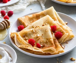 crepes, dessert, and fruit image