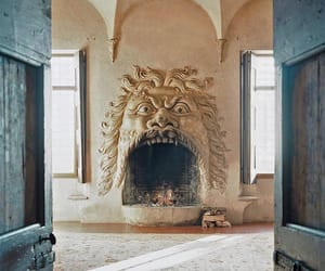 fireplace, Devil, and sculpture image