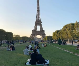 couple, eiffel tower, and france image