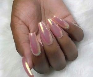 glam, pink, and long nails image